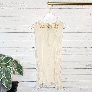 Joie Tops - Joie Silk Button Front Elastic Peplum Tie Back Top